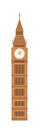 London big ben tower and big ben clock britain monument. Famous big ben building britain westminster parliament clock tower. Vector illustration big ben clock symbol of London and United Kingdom. Illustration