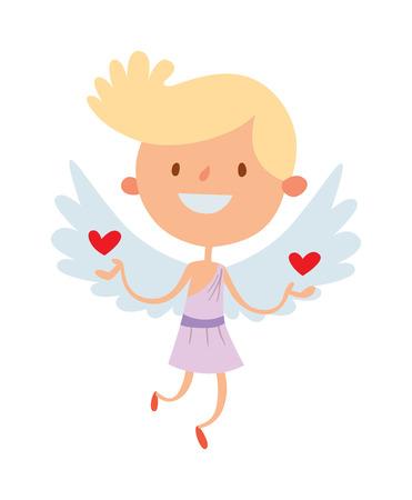 angeles bebe: Historieta linda del ángel sonrisa vector de niño chica de la silueta de Cupido. Romance de ángel Cupido, niño pequeño ángel Cupido. Cupido celebración de la boda ángel. Bebé de dibujos animados vector de Cupido ángel. Vectores