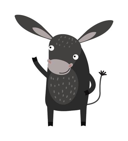 granja caricatura: Cómico burro burro feliz y lindo de la historieta sonrisa del caballo. De dibujos animados caricatura burro mamífero doméstico. animales de granja burro de dibujos animados mula. historieta divertida granja gris burro animal carácter vectorial. Vectores