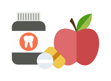 medical choice: Medical doctor health diet offering chemical and natural health diet vitamins, of drugs and apple fruits. Health balanced diet concept choice between two sources vitamins pills or fruits vector.