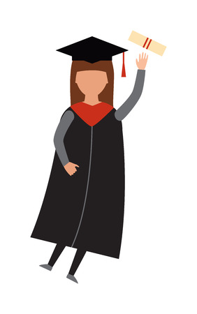 commencement: Graduation education people successful graduate students knowledge school university college graduation people infographic concept. Happy graduation people icons uniform throwing caps vector.