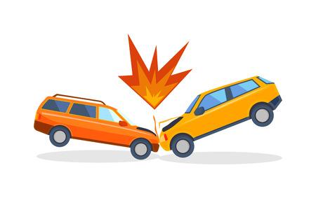 chofer de autobus: accidente de coche situación de la carretera peligro de accidentes y transporte de emergencia colisión de seguridad vial accidente. velocidad peligrosa accidente. Accidente de tráfico en la calle, coches dañados después de accidente de tráfico del vector de colisión. Vectores