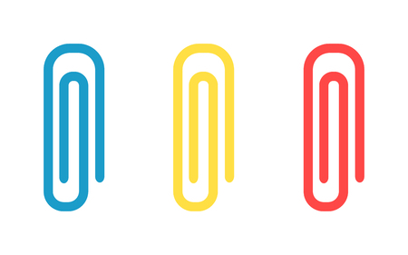 paper fastener: Office paper clip clamp and school paperclip holder. Paperclip business document tool holder, fastener stationery paperclip. Paperclip stationary. Colorful paper clips set office attachment vector.