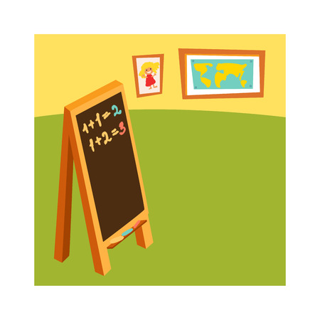 school classroom: School class with chalkboard desks and school class for education, study, blackboard. Classroom without student school class with wooden furniture and green blackboard on brick-wall-rendering vector.