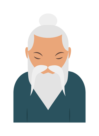 relaxed: Sage elder old chinese man and asian sage elder portrait. Sage elder wisdom chinese man, grandparent middle relaxed chinese man traditional male. Sage elder yoga pranayama old Hindu man vector. Illustration