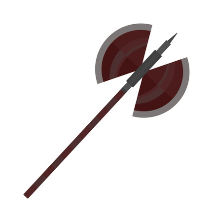 wooden work: Axe steel isolated and sharp axe cartoon weapon icon isolated on white and wooden axe cartoon flat icon of handle wood work equipment vector illustration.