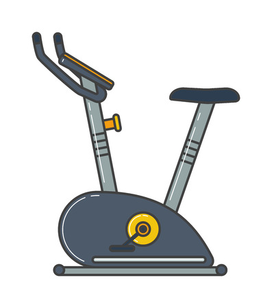 exercise machine: Stationary training exercise bike healthy lifestyle equipment and exercise bike sport. Exercise bike training workout machine. Stationary exercise bike sport gym machine health activity vector. Illustration