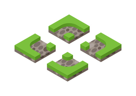 tree cross section: Isometric 3d land agriculture landscape and isometric 3d land lawn tree concept. Isometric section earth field. 3d illustration of isometric land cross section of ground with grass isolated vector. Illustration