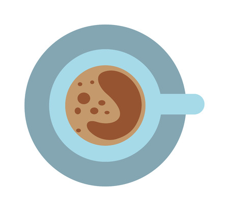 aromatic: Cup of coffee brown drink and fresh hot coffee cup. Coffee foam porcelain cup and aromatic tasty drink cup of espresso coffee and saucer. Coffee cup and saucer top view morning drink vector. Illustration