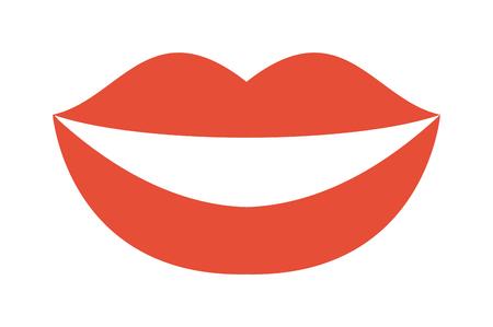 Dental smile teeth and healthy smile teeth. People whitening smile teeth and red lips, beautiful smile teeth. Smile laugh cheerful treatment teeth. Woman smile teeth whitening dental care vector. Illustration