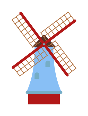 traditional windmill: Farm windmill agriculture and old windmill. Windmill holland, energy windmill grain tower village ecology propeller. Traditional old windmill building color painted farm concept vector illustration.