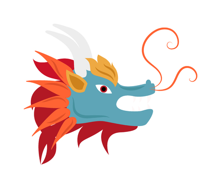 legend: Dragon head animal symbol and dragon mythology head. Dragon head traditional ancient character, asian legend decorative dragon head silhouette. Dragon head mascot mythology chinese monster vector. Illustration