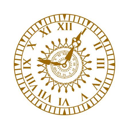 Flat wijzerplaat cirkel meten en wijzerplaat tijd vector wijzerplaat symbool geïsoleerd op wit. Horloge antieke gezicht klok vector illustratie.
