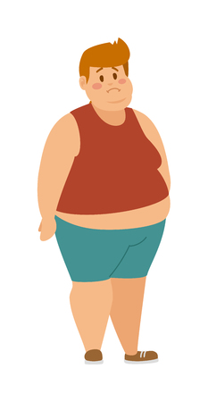 Cartoon character of fat boy, Dieting fitness. Fat boy man standing cartoon vector flat illustration. Fat figure man