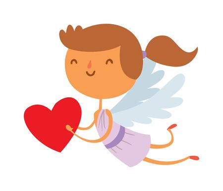 baby angel: Cartone animato Cupido angelo sorriso ragazza ragazzino vettoriale silhouette. Romanticismo cupido angelo, bambino piccolo Cupido angelo. Cupido festa di nozze angelo. Baby Cupid Angelo cartoon. Vettoriali