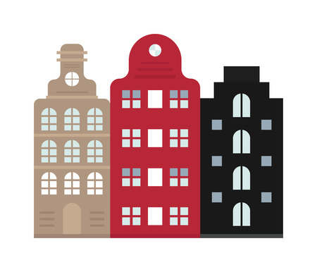house with style: Amsterdam House cityscape and traditional amsterdam house dutch cityscape. House old Dutch style. Traditional old buildings Amsterdam house netherlands architecture traditional travel vector.
