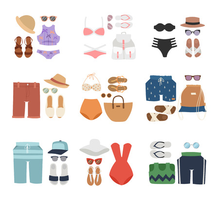 sexy young couple: Beachwear cloth fashion looks and beachwear vacation lifestyle. Beachwear women collection, beachwear sea light sexy clothes. Beachwear fashion travel different flat vector summer icons.