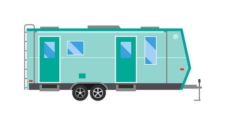 comfort: Ccaravan travel car vehicle trailer house summer vacation vector. Camper caravan car, vintage tourism caravan comfort car flat vector. Vintage caravan car vehicle trailer summer transport vector.