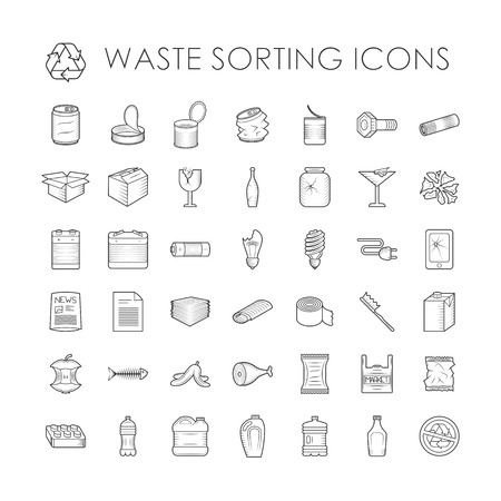 Clasificación de desechos iconos contorno ecología y clasificación de residuos iconos contorno ambiente basura. Clasificación de desechos de contenedores de reciclaje. Conjunto de separación de basura reciclaje de residuos relacionados con la clasificación iconos del vector esquema.