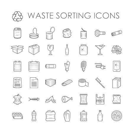 envases de plástico: Clasificación de desechos iconos contorno ecología y clasificación de residuos iconos contorno ambiente basura. Clasificación de desechos de contenedores de reciclaje. Conjunto de separación de basura reciclaje de residuos relacionados con la clasificación iconos del vector esquema. Vectores