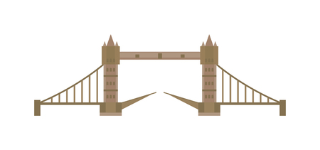 iconic architecture: Tower bridge london city and tower bridge architecture landmark. Tower famous british bridge and thames river tower history bridge. London tower bridge attraction capital England vector illustration. Illustration