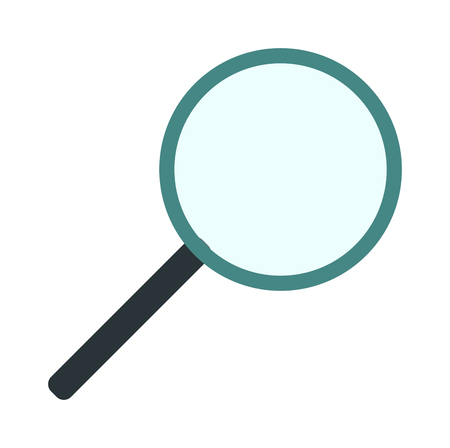 Search loupe zoom look, optic optimization loupe tool object. Loupe magnifying lens and loupe research zoom glass. Magnification loupe exploration. Magnifying glass flat loupe icon vector illustration Illustration