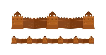 muralla china: Gran pared de la arquitectura china y una gran pared famosa china. Gran estructura maravilla del mundo del turismo muralla china. muralla de piedra. Great Wall Chinese atributos famosos de la arquitectura antigua del vector. Vectores