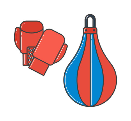 boxing glove: Pair of red boxing gloves vector illustration. Hanging boxing gloves isolated on white background. Boxing gloves sport equipment. Boxing gloves leather yellow protection. Boxing gloves.