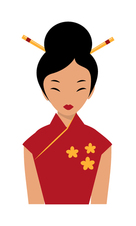 qipao: Chinese girl red dress and chinese girl tradition beauty clothing. Chinese girl attractive qipao lady. Beautiful chinese girl in traditional cheongsam red dress chopsticks in hair cartoon flat vector.