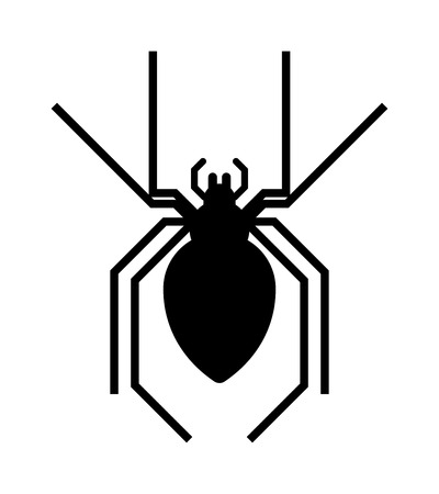 poison fang: Spider black silhouette arachnid fear graphic and spider black silhouette scary, animal poisonous design. Spider black silhouette nature phobia. Black spider insect danger silhouette vector icon.