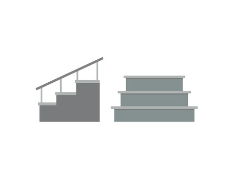 concrete stairs: Stairs architecture elements and stairs elements stairway business step. Stairs elements abstract construction. Outdoor motion concrete stair. Stairs elements interior flat architecture concept vector