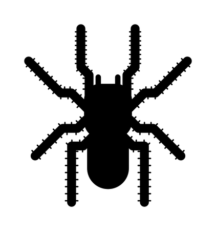 poisonous insect: Spider black silhouette arachnid fear graphic and spider black silhouette scary, animal poisonous design. Spider black silhouette nature phobia. Black spider insect danger silhouette vector icon.