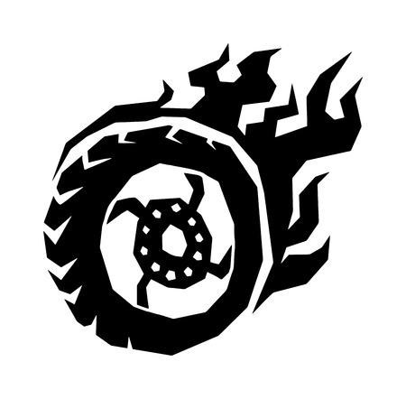 Fire wheel hot burn black and race vehicle fire wheel. Fire wheel auto car concept. Fire wheel fast sport automobile transport. Fire wheel silhouette. Car and motorcycle fire wheel with flame vector. Illustration