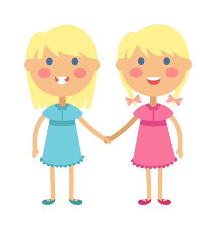 gemelos niÑo y niÑa: Gemelos y niños sosteniendo las manos lindas de los gemelos hijos juntos. felices los niños tomados de la mano gemelos niño y niña de la ilustración del vector. hermano de los gemelos y la ilustración vectorial hermana
