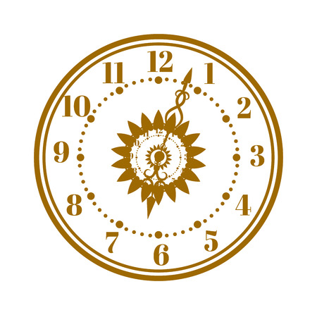 antique clock: Flat watch face circle measurement and watch face time dial vector symbol isolated on white. Watch face antique clock vector illustration.