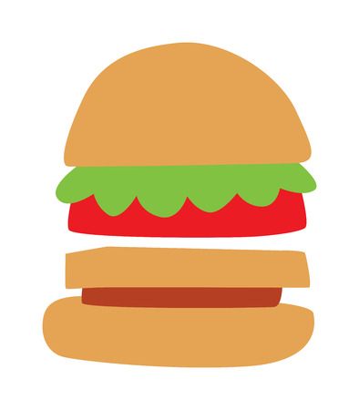 american cuisine: Hamburger fast food and hamburger tasty grilled american dinner. Hamburger classic cuisine gourmet fast food. Hamburger cheeseburger. Hamburger with meat, lettuce and cheese sandwich fast food vector.
