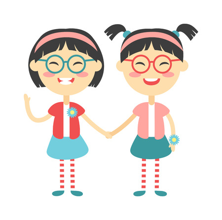 cute baby girls: Twins kids holding hands and cute twins kids together. Twins happy kids holding hands boy and girl vector illustration. Twins brother and sister vector illustration
