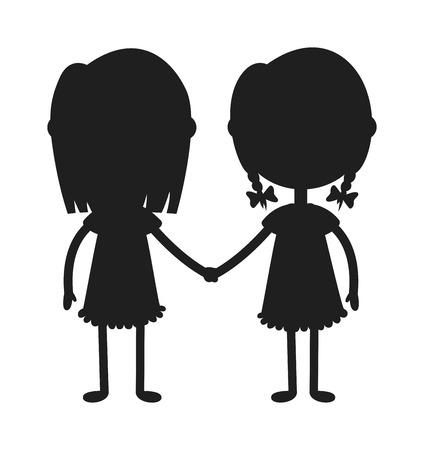 gemelos ni�o y ni�a: Gemelos y ni�os sosteniendo las manos lindas de los gemelos hijos juntos. felices los ni�os tomados de la mano gemelos ni�o y ni�a de la ilustraci�n del vector. hermano de los gemelos y la ilustraci�n vectorial hermana