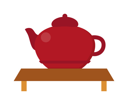 chinese teapot: Chinese tea vector symbols. Traditional eastern teapot and teacups on white background. Teapot vector icon. Teapot for tea drink time. Vector cute teapot Illustration
