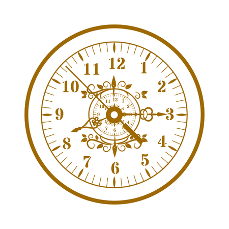 reloj antiguo: Flat watch face circle measurement and watch face time dial vector symbol isolated on white. Watch face antique clock vector illustration.