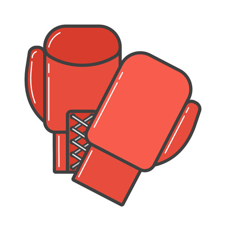 boxing knockout: Pair of red boxing gloves vector illustration. Hanging boxing gloves isolated on white background. Boxing gloves sport equipment. Boxing gloves leather protection. Boxing gloves. Illustration