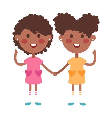 bebes niñas: Gemelos y niños sosteniendo las manos lindas de los gemelos hijos juntos. felices los niños tomados de la mano gemelos niño y niña de la ilustración del vector. hermano de los gemelos y la ilustración vectorial hermana