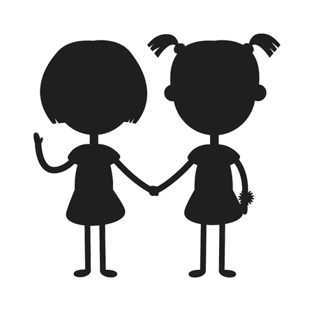 kids holding hands: Twins kids holding hands and cute twins kids together. Twins happy kids holding hands boy and girl vector illustration. Twins brother and sister vector illustration