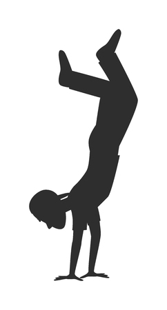 parkour: Parkour trick people jumping extreme sport black silhouette vector or city sport parkour trick people pose, parkour flat trick vector people jump, fall tricks. Illustration