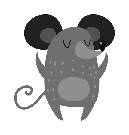 outstretched hand: Hand drawn small mouse and adorable gray happy hand drawn mouse. Hand drawn domestic gray cartoon pet mouse. Small cute rat. Cartoon smiling gray hand drawn mouse arms outstretched cute rat vector.