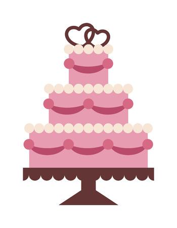 wedding cake isolated: Wedding cake Isolated on background. Wedding cake vector illustration. Vactor cake cute style isolated. Wedding couple on top cake