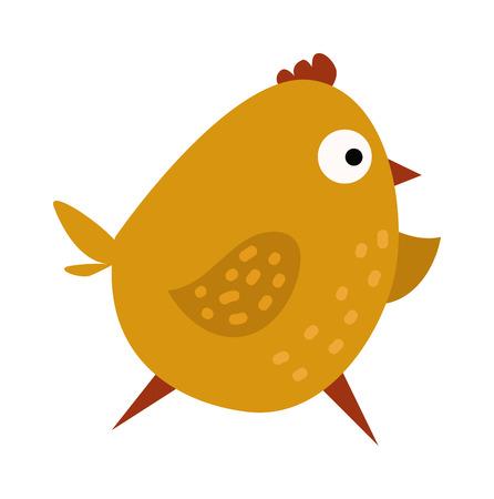 Cartoon yellow chick and running cartoon chick. Cartoon chick little character and funny small young hen animal. Cute chicken cartoon waving running yellow farm bird vector illustration.