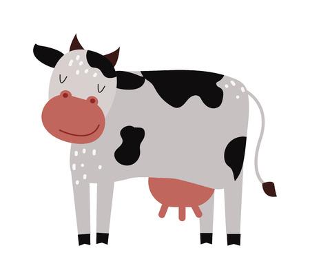 schattige karakter van het beeldverhaal koe dier en melk cartoon koe. Cartoon koe rundvee landbouw. Grappige cartoon schattige witte melk koe. Binnenlandse cartoon stier. Grappige cartoon koe dierenboerderij zoogdier vector.