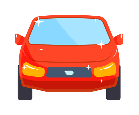 generic: Sedan red car design and red car shiny technology style vector. Generic red car luxury design flat vector illustration isolated on white. Illustration