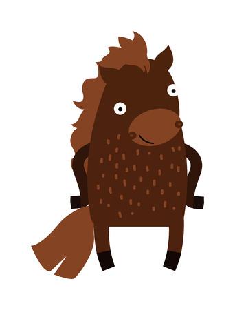 mammal: Cartoon horse wild nature and cartoon broun funny horse. Cartoon horse western wild power horse. Farm horse standing stallion. Cute cartoon horse farm animal mammal character clip art vector.